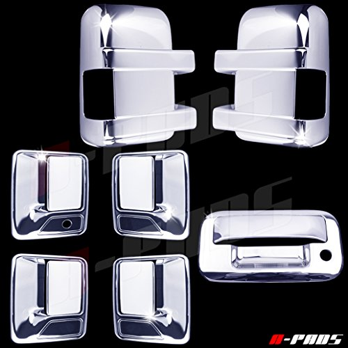A-PADS Chrome Covers Combo Set for Ford SUPER DUTY F250 F350 2008-2016 - Full Mirrors, WITH Signal + 4 Door Handles, WITHOUT Passenger Keyhole + Tailgate, WITH -