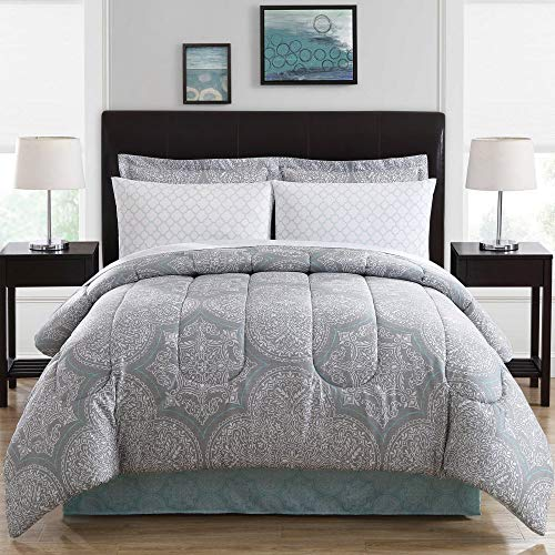 Ellison Great Value Silverton 8 Piece ina, Full Bed in a Bag, Blue