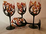 Hand painted fall leaves goblets. Set of 6. 12 ounces each For Sale
