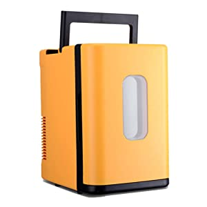 Portable Mini Fridge Freezer Cooler And Warmer Compact All Refrigerator With Handle Beverage Fridge For Car Dorm Room Office-yellow