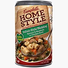 Campbell's Homestyle Healthy Request Italian-Style Wedding Soup is an Italian classic made with ingredients found in kitchens like yours such as meatballs, spinach and pasta cooked in chicken broth. With zero grams of trans fat per serving an...
