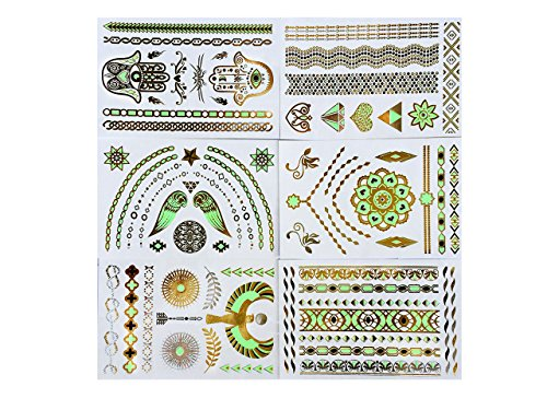 Premium Metallic tattoos Tattoos Glow In The Dark Metallic Temporary Tattoo Shimmer Gold, green Designs. Flash Tattoos Temporary Fake Jewelry Tattoos 6 Sheets by Light up in the Dark (Image #1)