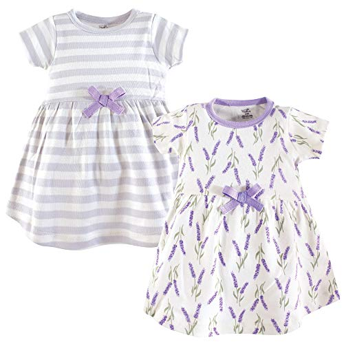 Touched by Nature Baby Girl Organic Cotton Dresses, Lavender Short Sleeve 2-Pack, 5 Toddler (5T) -
