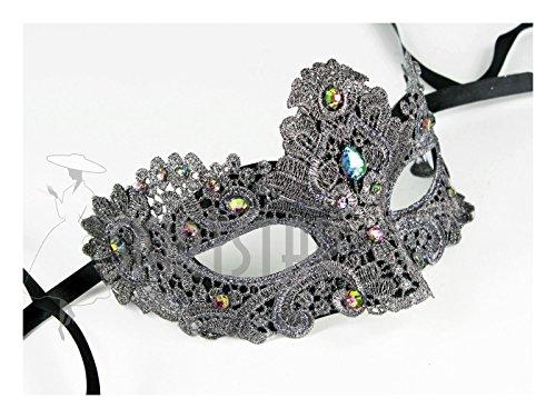 Mask Bridal (Largemouth Women's Masquerade Mask with Brocade and Crystal (Dark Gray/Rainbow))