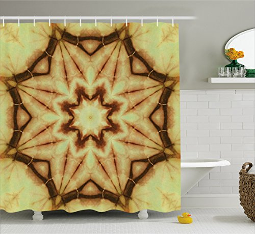 Ambesonne Tie Dye Decor Shower Curtain, Trippy Ethnic Thai Mandala Motif with Dirty Grunge Smear and Rough Stains, Fabric Bathroom Decor Set with Hooks, 75 Inches Long, Mustard Brown by Ambesonne