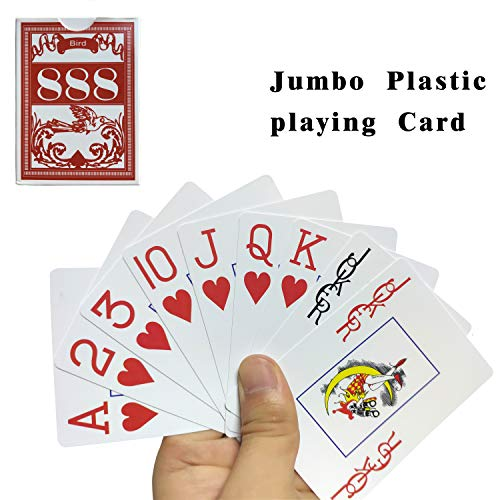 Neasyth Waterproof Plastic Playing Cards,Jumbo Index, for Texas Holdem, Blackjack, Pinochle, Euchre, for Pool Beach Water Games