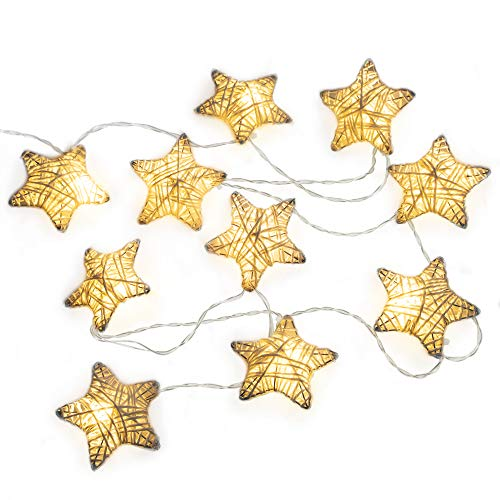 (West Ivory 6 feet 10 LED String Fairy Light w/Metal Covered Stars Battery Powered Decorative Indoor Outdoor, Warm White)