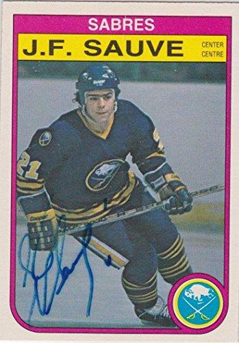 J.F. JF Sauve Signed 1982-83 O-Pee-Chee OPC Card # 33 Buffalo Sabres Rare Auto - Autographed Hockey ()