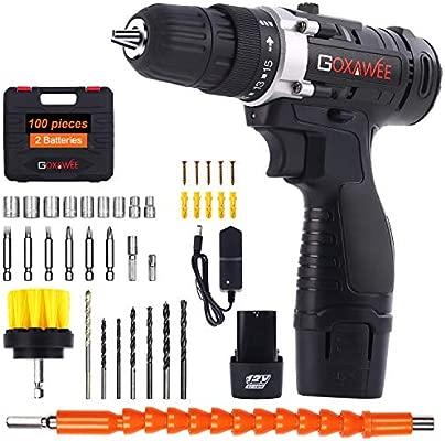Taladro Atornillador 12V, GOXAWEE 100Pcs Kit Taladro Electrico/Destornillador Eléctrico (2 Baterías de Litio 1500mAh, 30N.m Par Máx, 2 Velocidades, ...