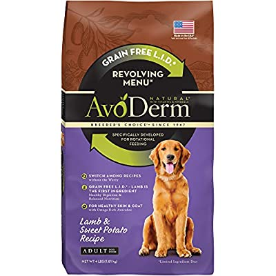 AvoDerm Natural Revolving Menu Dry Dog Food for Rotational Feeding, Food Intolerance and Sensitivities, Lamb & Sweet Potato