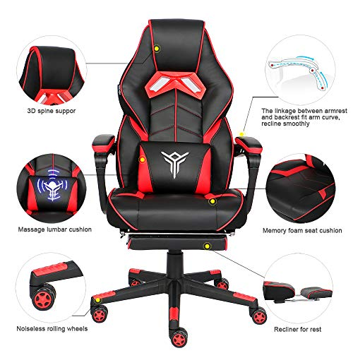YOURLITEAMZ Racing Gaming Chair with Footrest and Massage Lumbar Pillow, Swivel Height Adjustable Reclining PU Leather Video Game Chair, E-Sports Gaming Chair Big and Tall (Red)