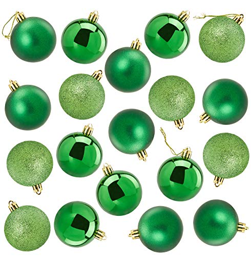 Juvale 48-Pack Mini Christmas Tree Ornaments - Green Shatterproof Small Christmas Balls Decoration, Assorted 3-Finish Shiny, Matte, Glitter, Hanging Plastic Bauble Holiday Decor, 1.5 Inches