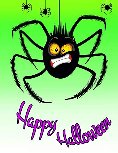 Happy Halloween: Funny Halloween Spider Themed, Primary Writing Tablet for Kids, 65 Sheets of Blank Lined Practice Paper with 1