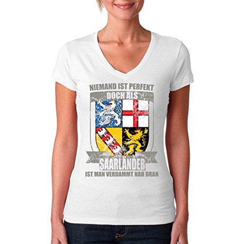 Fun Sprüche Girlie VNeck Shirt Perfekter Saarländer Wappen by ...