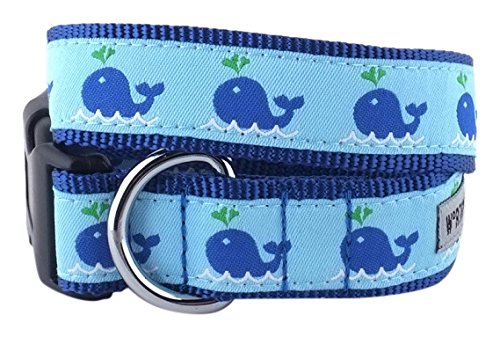 The Worthy Dog Squirt Whale Adjustable Designer Pet Dog Collar, bluee, L