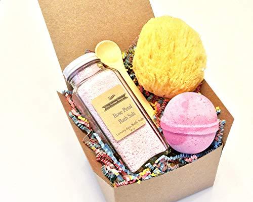 (Rose Petal Bath Salt Gift Set with Pink Bath Bomb and Sea Sponge)