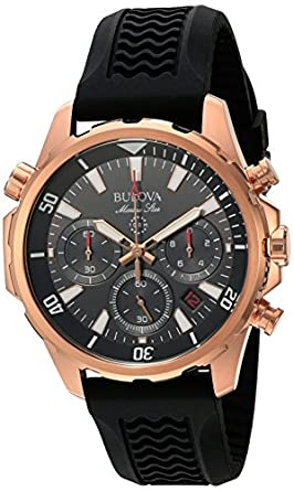 amazon com bulova men s quartz stainless steel dress watch model bulova men s rose goldtone watch
