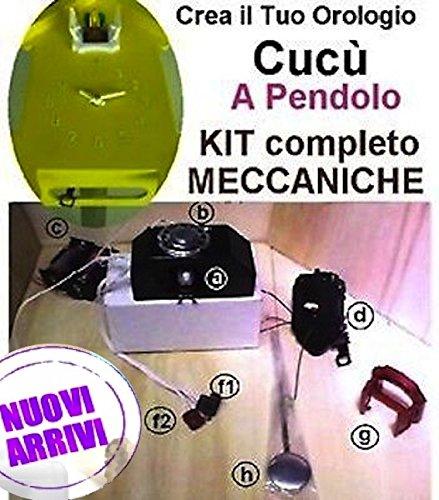kit meccanica a cucù con pendolo basculante completa di Movimento Meccanismo mod.E15, basculante interamente in metallo COLOR ORO e Lancette gotiche linea3