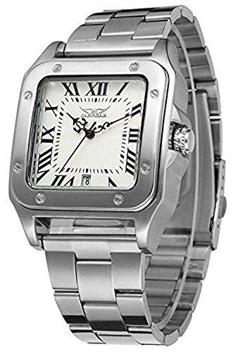 Gosasa Men's Stylish Square Automatic Stainless Steel Watch With White Dial