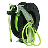 Flexzilla Retractable Open Face Dual Arm Air Hose Reel, 3/8 in. x 50 ft., Heavy Duty, Lightweight, Hybrid, ZillaGreen - L8711FZ