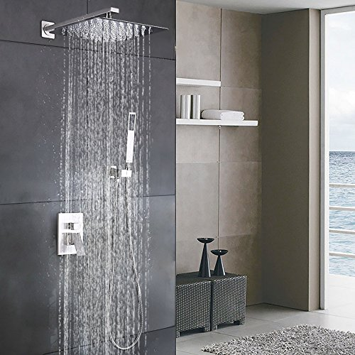 Esnbia Luxury Rain Shower Systems Wall Mounted Shower Combo Set with High Pressure 12 Inch Square Rain Shower Head and Handheld Shower Faucet Set Brushed Nickel (Shower Fixtures Luxury)