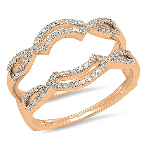 Dazzlingrock Collection 0.35 Carat (ctw) 10K Round White Diamond Ladies Wedding Band Double Ring 1/3 CT, Rose Gold, Size 8.5 ()