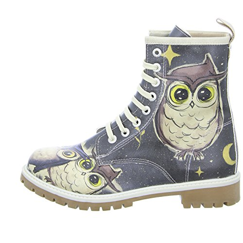 Dogo Owls Family (Long Bootz) Damen Stiefel Allover-Print Eule Schnürer Bunt (Mehrfarbig)