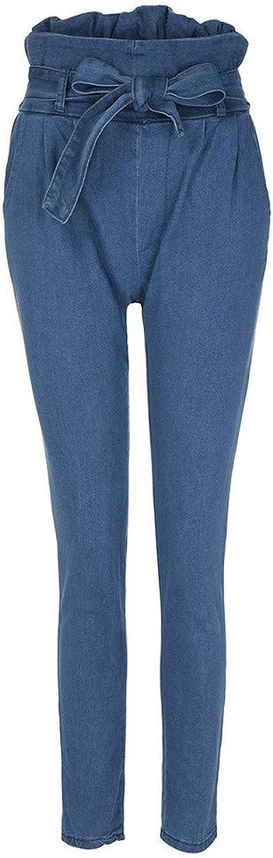 Moda Mujer Jeans Denim Vendaje Mujer Cintura Alta Estiramiento Delgado Lapiz Pantalones Mujer Vestir Deportivos Dockers Para Verano Monta Tirantes Militares Amazon Es Ropa Y Accesorios