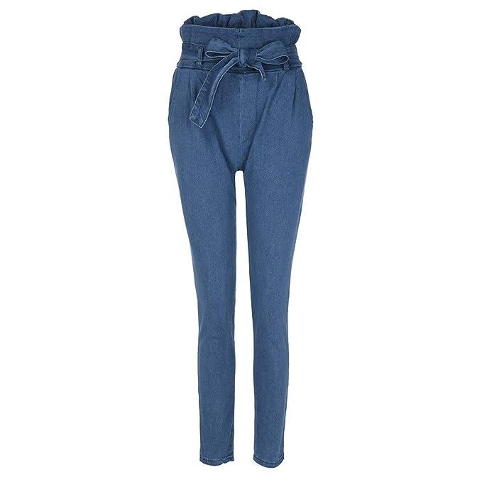 f3f39c5f51 Moda Mujer Jeans Denim Vendaje Mujer Cintura Alta Estiramiento Delgado Lápiz  Pantalones Mujer Vestir Deportivos Dockers para Verano Monta Tirantes ...