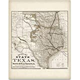 Texas Locomotive Map - Houston and Texas Central Railroad - 11x14 Unframed Art Print - Great Vintage Home Decor Under $15