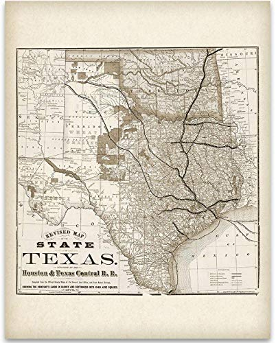 Texas Locomotive Map - Houston and Texas Central Railroad - 11x14 Unframed Art Print - Great Vintage Home Decor Under $15 ()