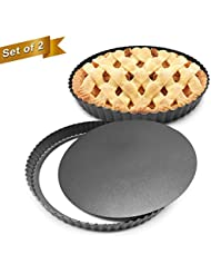 HOMOW Set of 2, Non-stick 11 inch Pizza Pan, Quiche Pan With Removable Bottom, Removable Loose Bottom Quiche Pan, Tart Pie Pan, Heavy Duty Pan