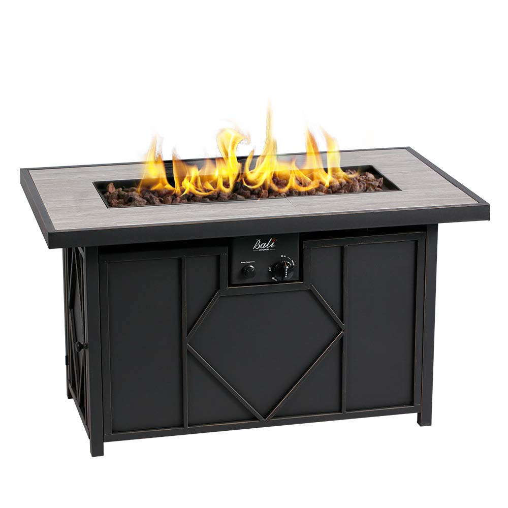 BALI OUTDOORS Fire Pit Propane Gas FirePit Table Rectangular Tabletop 42in 60,000BTU by BALI OUTDOORS