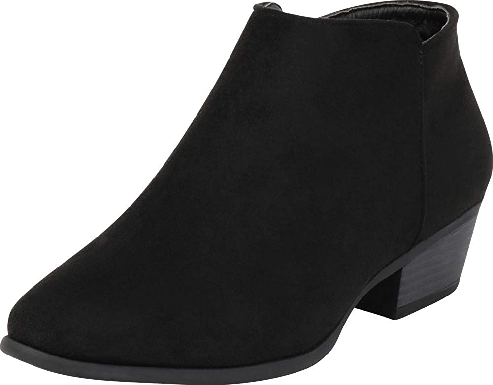 Black Imsu Cambridge Select Women's Classic Western Chunky Stacked Low Heel Ankle Bootie