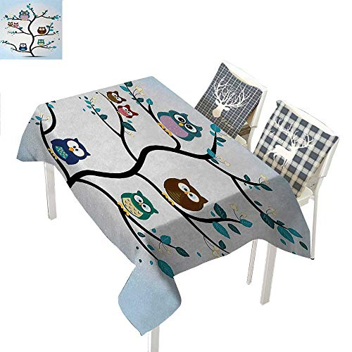 WilliamsDecor Owl Square Tablecloth Owl Family Perched on a Tree Love Grace Nocturnal Eyed Night Animals in The Nature PrintMulti Rectangle Tablecloth W60 xL120 inch