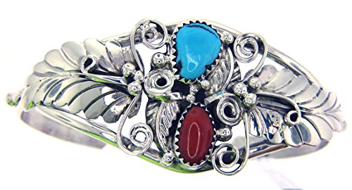 rtist Darrell Morgan: Genuine Navajo Turquoise-Coral Women's Bracelet ()