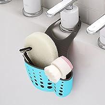 MUMENG Sponge Sink Holder, Double Layer Rubber Adjustable Button Hanging Kitchen Gadget Storage Organizer (Blue)