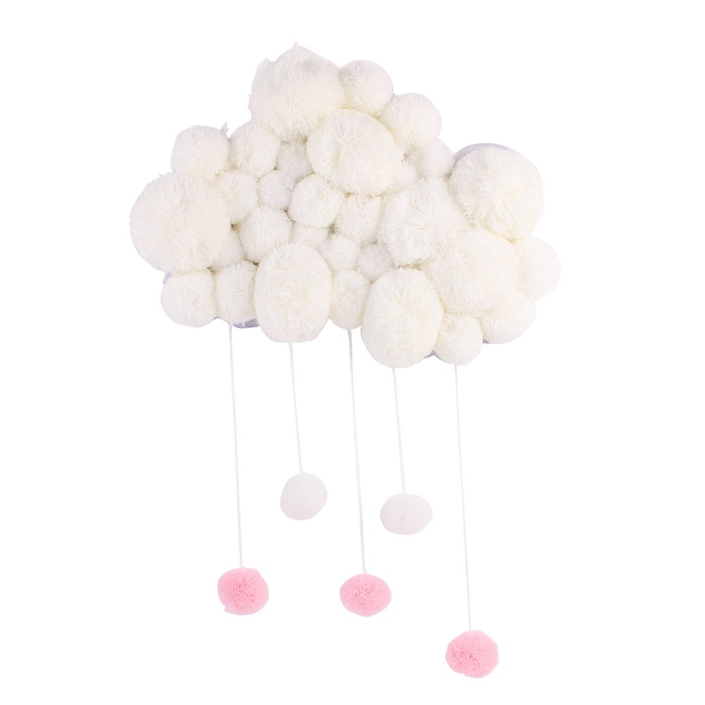 VORCOOL Nursery Ceiling Mobile Hanging Cloud Raindrops for Kids Room Baby Shower Wall Decorations (White)
