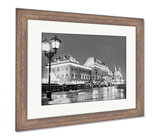 Ashley Framed Prints Street Lamp And Manezhnaya Square, Wall Art Home Decoration, Black/White, 26x30 (frame size), Rustic Barn Wood Frame, (Manezhnaya Square)