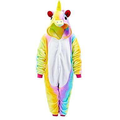 Kids Girls 3D Unicorn Animal Hoodie Jumpsuit Sleepwear Nightwear Fancy Dress UK