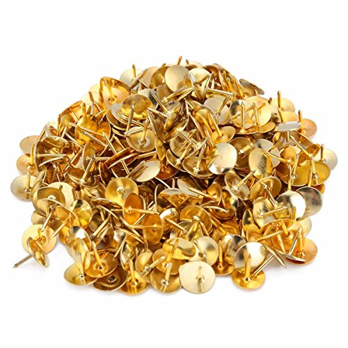 600 PCS Upholstery Tacks Nail Push Pins with Round Flat Head for Decoration Gold, 3/8 Inch ()