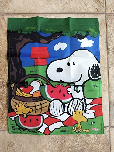 (Peanuts Snoopy Woodstock Picnic 14x18 inches Garden Flag)