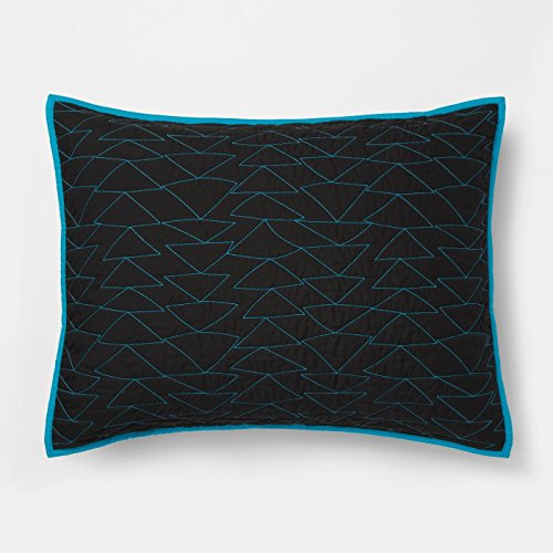 - Pillowfort Triangle Stitch Standard Quilted Pillow Sham - Black Blue