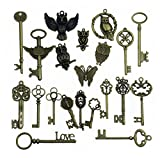 Aokbean Mixed 21Pcs Jewelry Making Charms Craft keys Decorative Key Vintage Skeleton Key in Antique Bronze Style No Repeat (21Pcs)