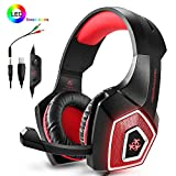 PS4 Headset,Xbox One Headphones,Gaming Headset with LED light,Stereo Gamer Headphones,3.5mm wired Over-ear Noise Isolating Microphone Volume Control for Mac(Black-Red)