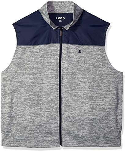 IZOD Men's Big and Tall Advantage Performance Spectator Colorblock Fleece Vest, Bone Light Grey, 2X-Large
