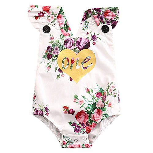Birthday Bodysuit (ONE'S New Baby Girls Summer Flower One First Birthday Bodysuit Romper Outfits (12-18 Months, White))