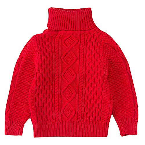 Londony ♪❤ Toddler Baby Boy Girl Turtleneck Cable Knit Pullover Sweater Cotton Lined Warm Cardigan Sweatshirt