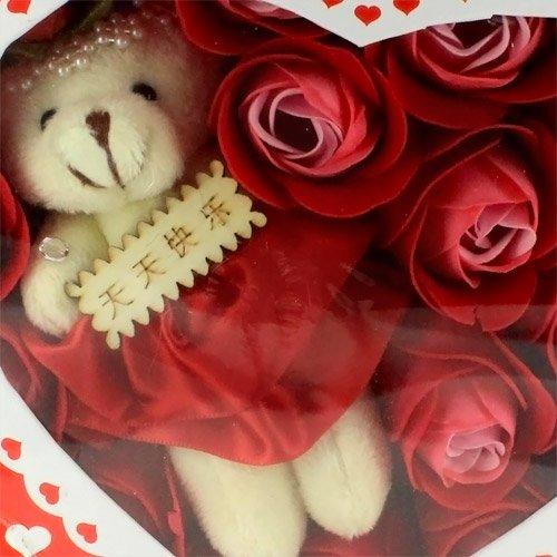 Skque caja con oso de peluche y petalos de rosas rojas Bath Body Soap: Amazon.es: Hogar