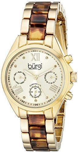 Burgi Women's BUR130YG Diamond Accented Yellow Gold & Tortoise Resin Multifunction Bracelet Watch